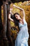 Muchacha en la raíz de un árbol Fotografía de archivo