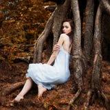 Muchacha en la raíz de un árbol Imágenes de archivo libres de regalías