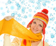 Muchacha en la ropa del invierno Fotografía de archivo