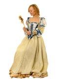 Muchacha en la ropa polaca del siglo 16 con el espejo-ventilador Imagenes de archivo