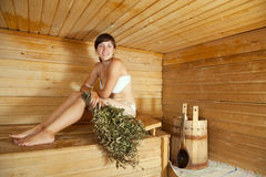 Muchacha en la sauna Fotografía de archivo libre de regalías