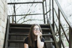 Muchacha en las escaleras Fotografía de archivo libre de regalías