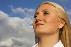 Muchacha en las nubes Fotos de archivo libres de regalías