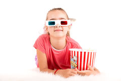 Muchacha en las películas Fotografía de archivo libre de regalías