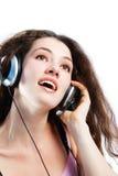 Muchacha en los auriculares 3 imágenes de archivo libres de regalías
