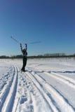 Muchacha en los esquís Imagen de archivo