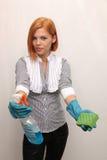 Muchacha en los guantes de goma Fotos de archivo libres de regalías