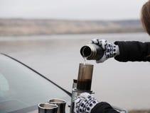 Muchacha en manoplas que prepara el café en aeropress en tronco de coche por el río del campo, invierno Paisaje monocromático des Foto de archivo