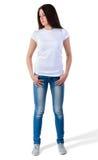 Muchacha en maqueta de la camiseta Imagenes de archivo