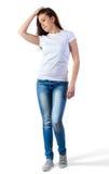 Muchacha en maqueta de la camiseta Imágenes de archivo libres de regalías