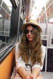 Muchacha en metro Fotos de archivo
