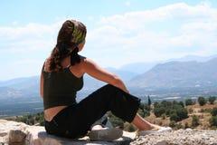 Muchacha en Mycenae Fotografía de archivo libre de regalías