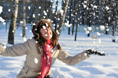 Muchacha en nieve Fotografía de archivo