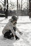 Muchacha en nieve Imagen de archivo libre de regalías