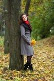 Muchacha en otoño colorido del parque Imagenes de archivo