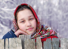 Muchacha en pañuelo rojo Fotografía de archivo