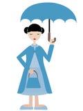 Muchacha en paraguas azul de la explotación agrícola de la alineada Imagenes de archivo