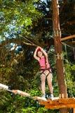 Muchacha en parque de la aventura Imágenes de archivo libres de regalías