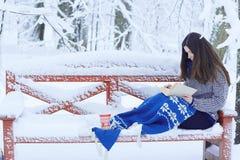 Muchacha en parque de la nieve imagen de archivo