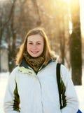 Muchacha en parque del invierno Imágenes de archivo libres de regalías
