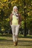 Muchacha en parque en otoño Imagen de archivo