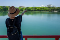 Muchacha en parque japonés en Fukuoka Fotografía de archivo libre de regalías