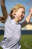 Muchacha en raza de los deportes Imágenes de archivo libres de regalías