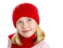 Muchacha en Red Hat y bufanda Fotografía de archivo