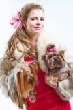 Muchacha en rojo con dos terrieres de yorkshire en blanco Imagen de archivo