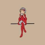 Muchacha en rojo y taza de té ilustración del vector