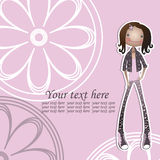 Muchacha en ropa de moda en un fondo rosado Fotos de archivo libres de regalías
