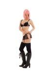 Muchacha en ropa interior negra con el pelo rosado Fotos de archivo