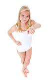 Muchacha en ropa interior que señala con el finger Foto de archivo libre de regalías