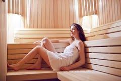 Muchacha en sauna Imágenes de archivo libres de regalías