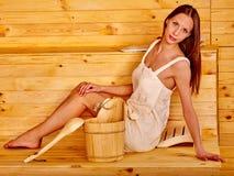 Muchacha en sauna Imagen de archivo libre de regalías