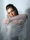Muchacha en seda Fotos de archivo libres de regalías