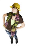 Muchacha en sombrero amarillo Imagen de archivo libre de regalías