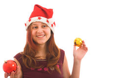 Muchacha en sombrero de la Navidad Imagenes de archivo