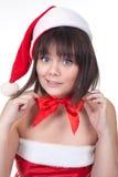 Muchacha en sombrero de la Navidad Imágenes de archivo libres de regalías