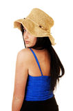 Muchacha en sombrero de paja. Foto de archivo libre de regalías