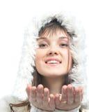 Muchacha en sombrero de piel Imagenes de archivo