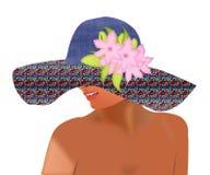 Muchacha en sombrero del verano con las flores en el fondo blanco Mujer en s ilustración del vector