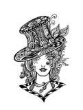 Muchacha en sombrero en el Zen-garabato o el Zen-enredo l decorativo negro del estilo en blanco ilustración del vector