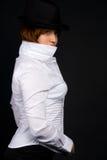 Muchacha en sombrero negro Imágenes de archivo libres de regalías