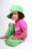 Muchacha en sombrero verde Foto de archivo libre de regalías