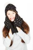 Muchacha en sombrero y bufanda del invierno Fotografía de archivo libre de regalías