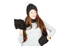 Muchacha en sombrero y bufanda del invierno Foto de archivo