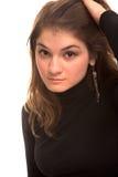 Muchacha en suéter del balck Imágenes de archivo libres de regalías