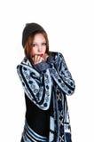 Muchacha en suéter y sombrero Imágenes de archivo libres de regalías