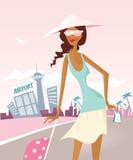 Muchacha en su recorrido en el aeropuerto. stock de ilustración